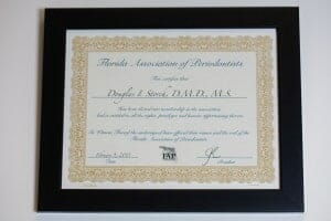 Florida Association of periodontists certificate